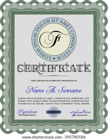 Certificate template or diploma template. Superior design. Complex background. Vector pattern that is used in currency and diplomas.Green color.