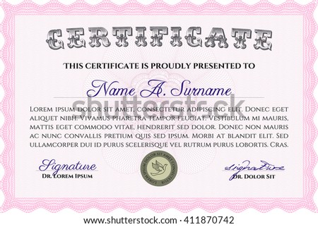 Certificate template or diploma template. Superior design. Complex background. Vector pattern that is used in currency and diplomas.Pink color.