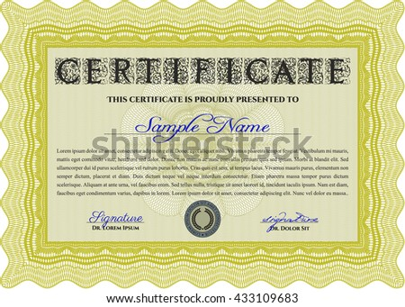 Certificate template or diploma template. Superior design. Vector pattern that is used in currency and diplomas.Complex background. Yellow color.