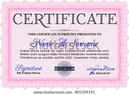 Certificate template or diploma template. Vector pattern that is used in currency and diplomas.Superior design. Complex background. Pink color.