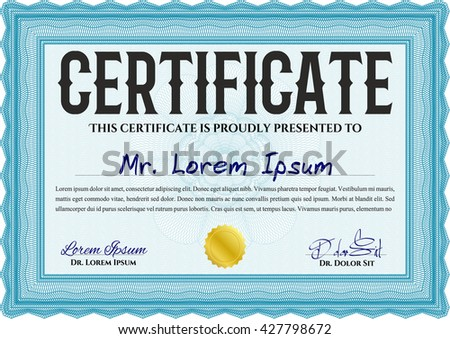 Certificate template or diploma template. Vector pattern that is used in currency and diplomas.Superior design. Complex background. Light blue color.