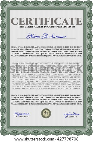 Certificate template or diploma template. Vector pattern that is used in currency and diplomas.Superior design. Complex background. Green color.