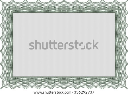 Certificate template or diploma template. With complex background. Border, frame.Artistry design.