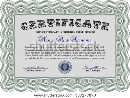 Certificate template or diploma template. With complex background. Vector pattern that is used in money and certificate.Cordial design.