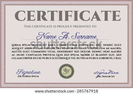 Certificate Template Or Diploma Template. With Quality Background ...
