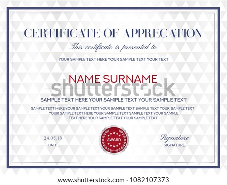 modern certificate of appreciation template with geometric shape