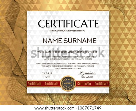 creative certificate of achievement award template with red and