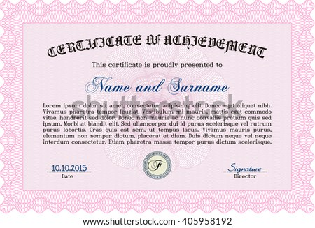Certificate template. Printer friendly. Detailed. Nice design. Pink color.