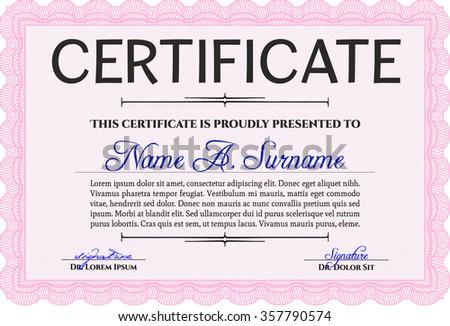 Certificate template. Superior design. Complex background. Border, frame.