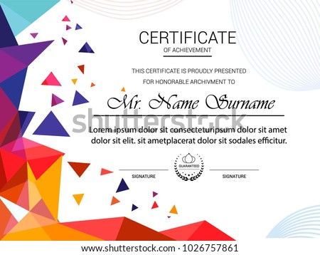 Certificate template, vector illustration.