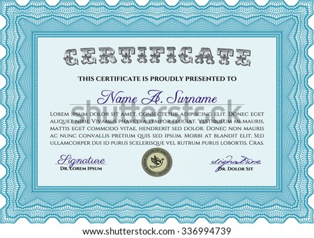 Certificate template. Vector pattern that is used in money and certificate.Artistry design. With guilloche pattern.