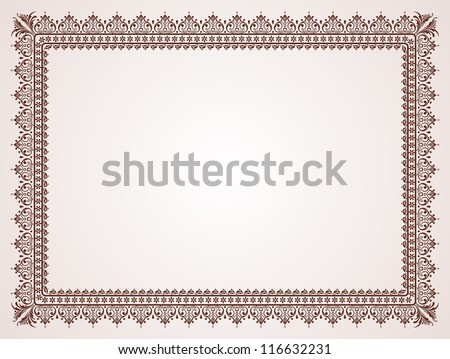 Certificate template. Vintage background with design elements.