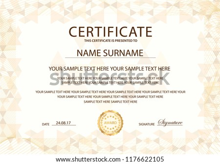 Certificate template with Guilloche frame border. Design for Diploma, certificate of appreciation, certificate of achievement, certificate of completion, of excellence, of attendance template, award