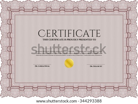 Certificate template. With guilloche pattern and background. Beauty design. Money style.