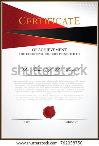 Certificate template with halftone dots background #762058750