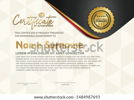 Certificate template with luxury and elegant texture modern pattern, diploma.Vector illustration.