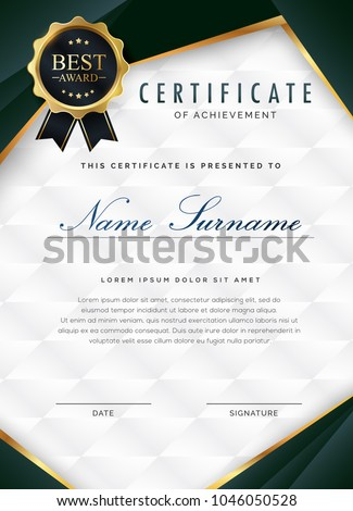 certificate template with luxury and modern pattern, appreciation award  diploma template of  dark green and golden shapes and badge.