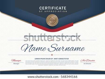 Certificate template with luxury and modern pattern,diploma,Vector illustration template.