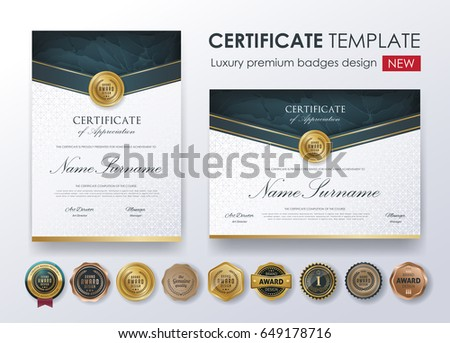 certificate template with luxury patterndiplomavector illustration and vector luxury premium badges design