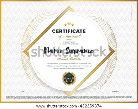 Certificate vector template design. Diploma design graduation, award, success.