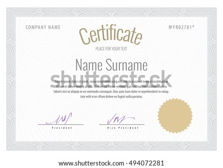 Certificate. Vector Template diplomas currency. Award background Gift voucher.