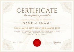 Certificate vector template. Formal secured border Guilloche pattern, spirograph for Diploma, deed,certificate of appreciation, achievement,completion, attendance design, award. Blank red seal, emblem