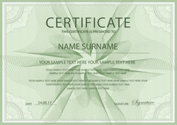 Certificate vector template. Formal secured Guilloche pattern. Green border frame for Diploma, deed, certificate of appreciation, achievement, completion, excellence, attendance design, award