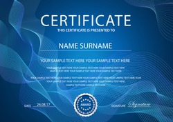 Certificate vector template layout. Blue formal secured Guilloche pattern for Diploma, deed, certificate of appreciation, achievement, completion, excellence, attendance design. Silver emblem award