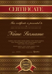 Certificate vector vertical luxury template. Secured lux gold border Guilloche pattern for Diploma,deed,certificate of appreciation,achievement, completion,credential  design. Red ribbon, award emblem