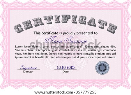 Certificate. With background. Vector pattern that is used in currency and diplomas.Cordial design.