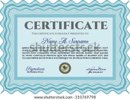 Certificate. With complex background. Complex design. Vector pattern that is used in currency and diplomas.