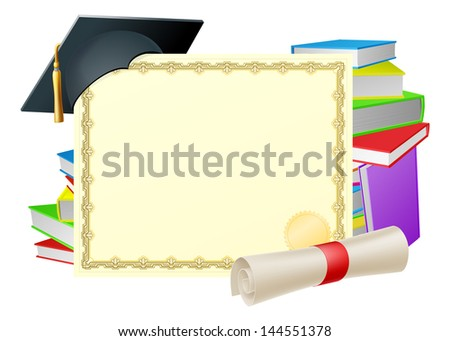 Certificate with copy-space and scroll diploma, books and mortar board graduation cap