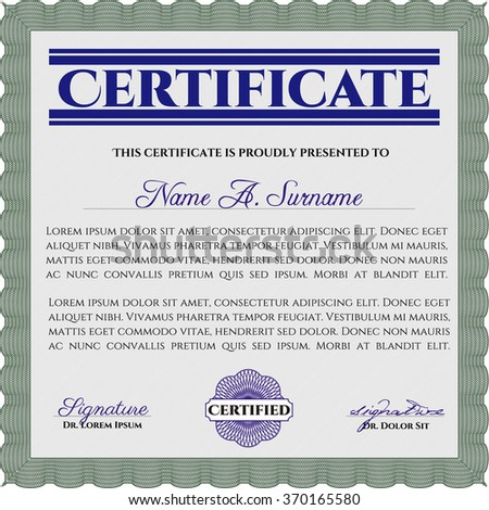 Certificate. With linear background. Detailed.Retro design.