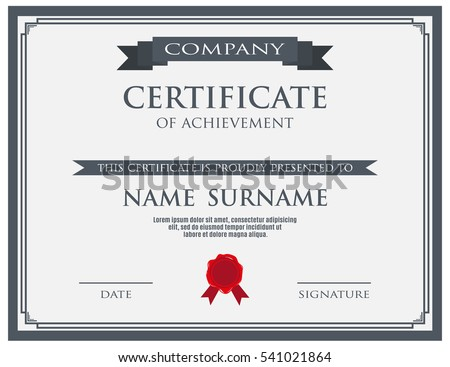 Certificate with wax seal template. vector illustration.