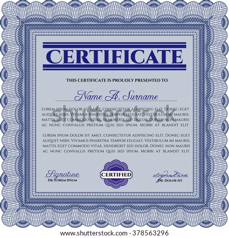 Certificatem diplmoa or award template. Design template. Money style design. With guilloche pattern. Blue color.