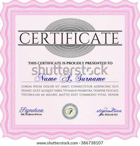 Certificatem diplmoa or award template. Design template. Money style design. With guilloche pattern. Pink color.