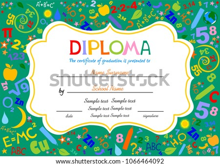 Certificates Kindergarten And Elementary, Preschool Kids Diploma Certificate  Background Design Template, Diploma Template For
