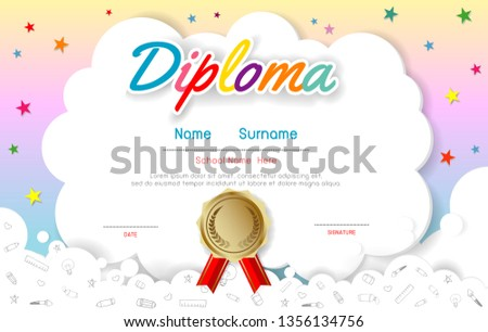 Certificates kindergarten and elementary, Preschool Kids Diploma certificate pattern design template, Diploma template for kindergarten students, Certificate of kids diploma