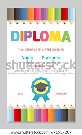 Certificates pattern design template for school kindergarten and elementary, Preschool Kids,  vector illustration.