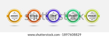 Certified badge logo design for company training badge certificates to determine based on criteria. Set bundle certify colorful vector illustration template.