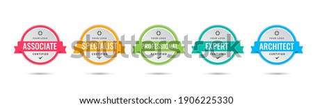 Certified badge logo design for company training badge certificates to determine based on criteria. Set bundle certify with colorful ribbon vector illustration. Foto stock ©