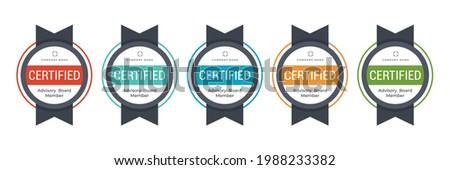Certified badge logo design. Professional certification category or criteria. Vector badge illustration template.
