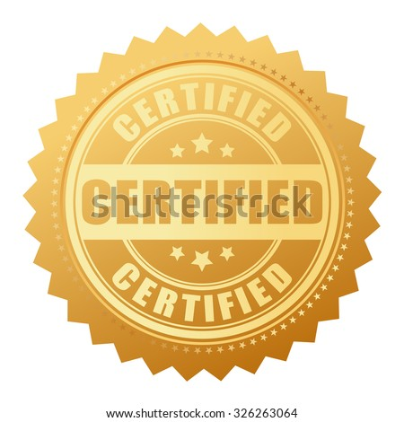Certified gold seal isolated on white