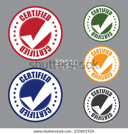 certified icon, tag, label, badge, sign, sticker, vector format