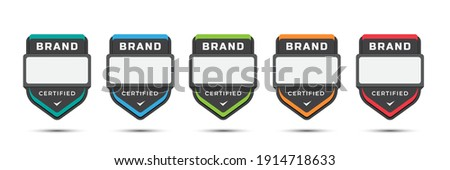 Certified logo badge for company brand, gaming levels, corporate license, training criteria, with shield label design. Vector illustration colorful icon template.