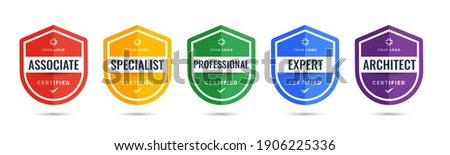 Certified logo badge shield design for company training badge certificates to determine based on criteria. Set bundle certify with colorful security vector illustration. Foto stock ©