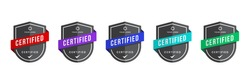 Certified logo badge with shield shape vector. Criteria level digital certificate. Vector security icon template.