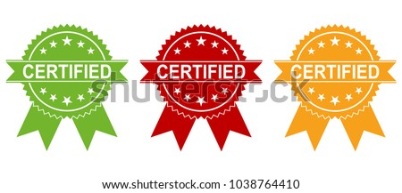 Certified Medal Icon collection. Approved certified icon. Certified seal