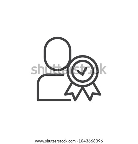 Certified person outline icon. Approved user linear style sign for mobile concept and web design. Man with medal simple line vector icon. Symbol, logo illustration. Pixel perfect vector graphics