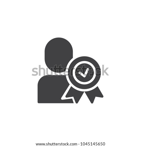 Certified person vector icon. Approved user filled flat sign for mobile concept and web design. Man with medal simple solid icon. Symbol, logo illustration. Pixel perfect vector graphics
